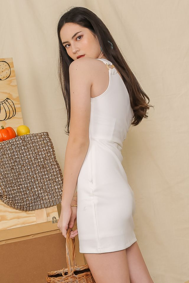 TESSA TOGA DRESS (WHITE) (XS & L)
