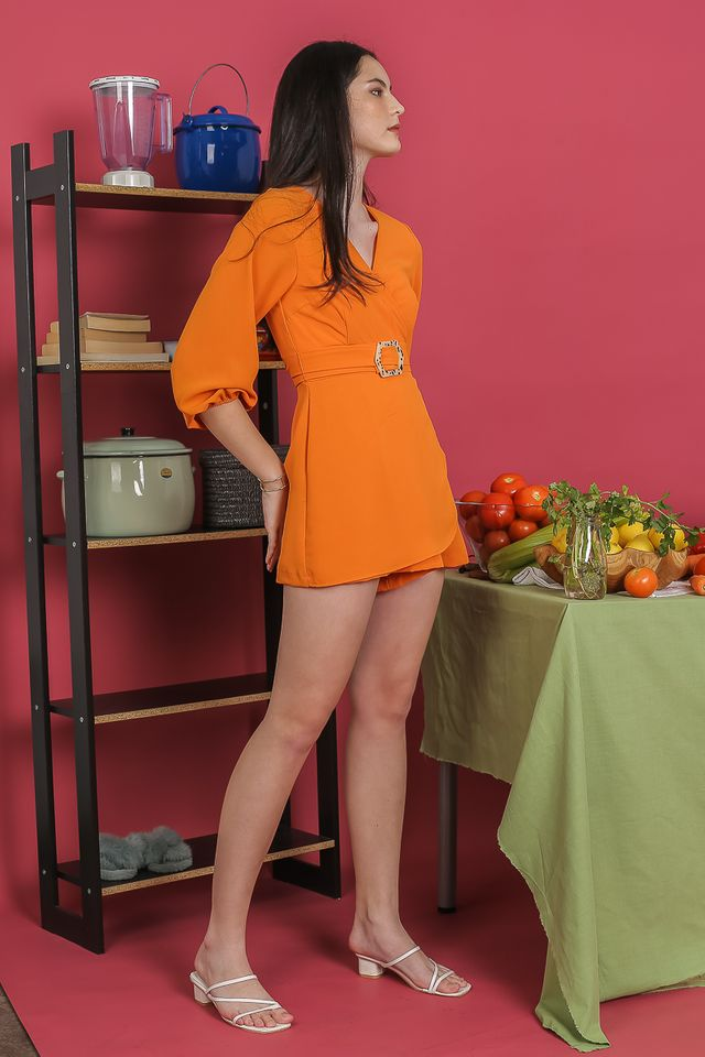 PAMELA BUBBLE SLEEVE ROMPER (ORANGE)