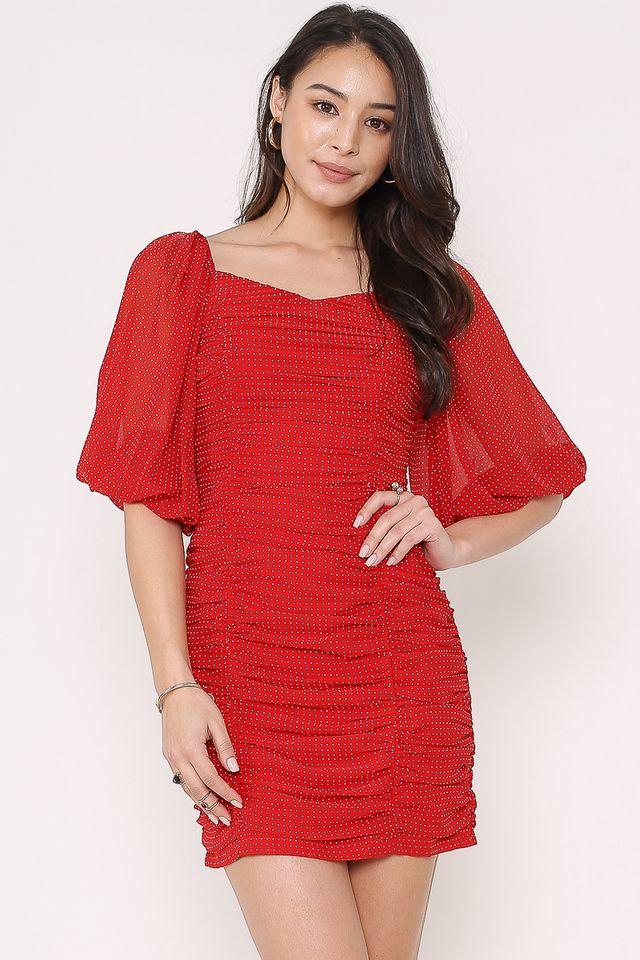 CAXS POLKA-DOT RUCHED DRESS (RED) (SIZE XS)