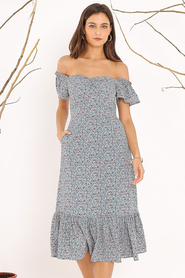 FAITH FLORAL DRESS (BABY BLUE)