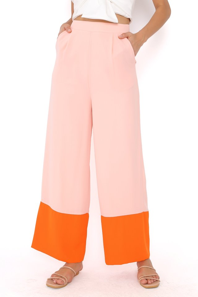 CAMIRA COLOURBLOCK PANTS (LIGHT PINK/ORANGE)