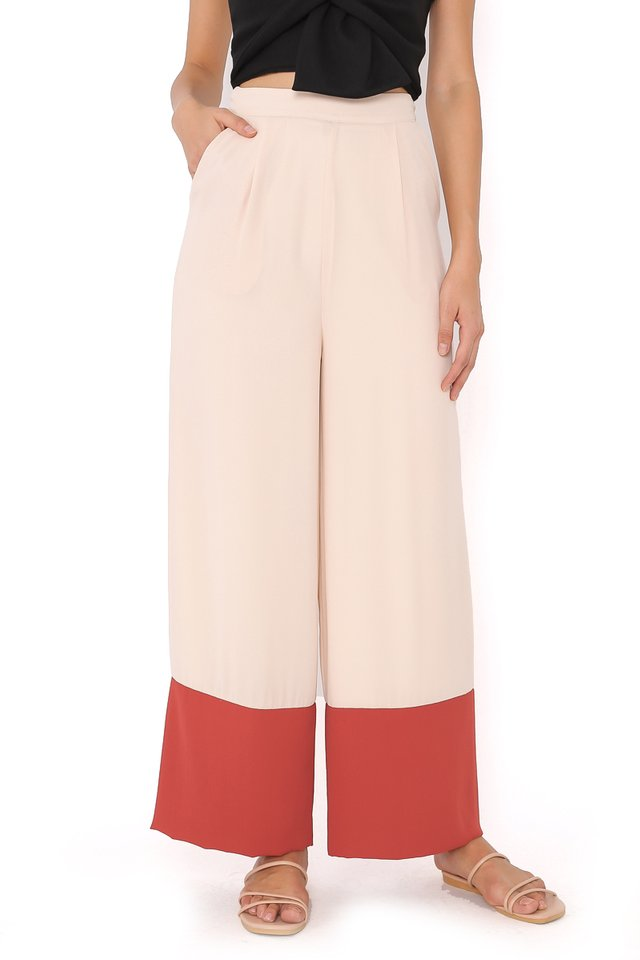 CAMIRA COLOURBLOCK PANTS (CREAM/TERRACOTTA)