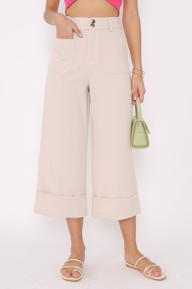 DELIA DOUBLE BUTTON PANTS (SAND)