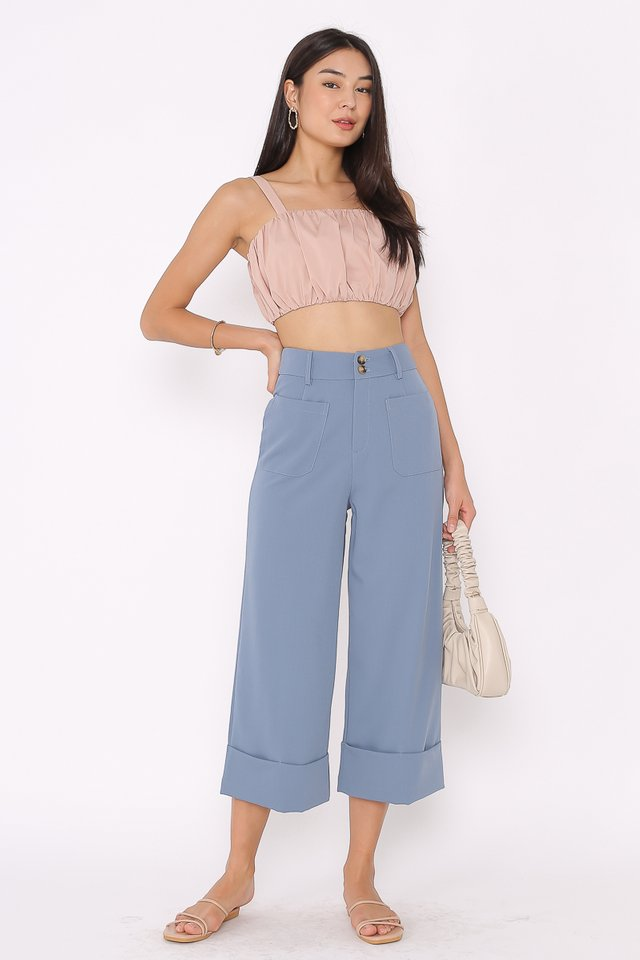 DELIA DOUBLE BUTTON PANTS (AIRFORCE BLUE)