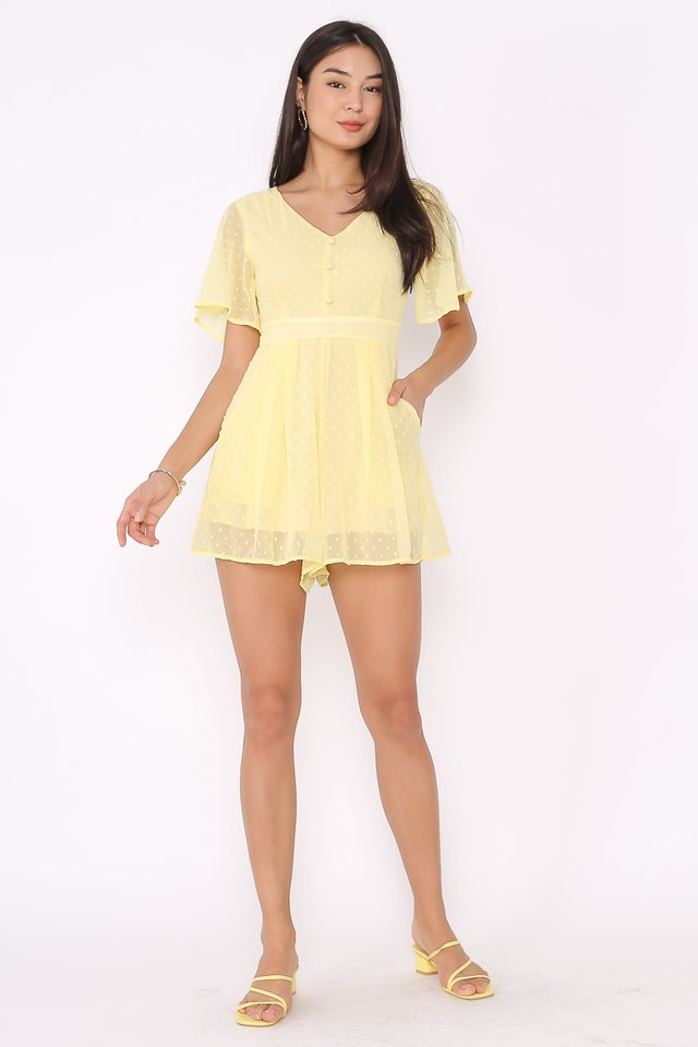 SELINA SWISS DOT ROMPER (PASTEL YELLOW)