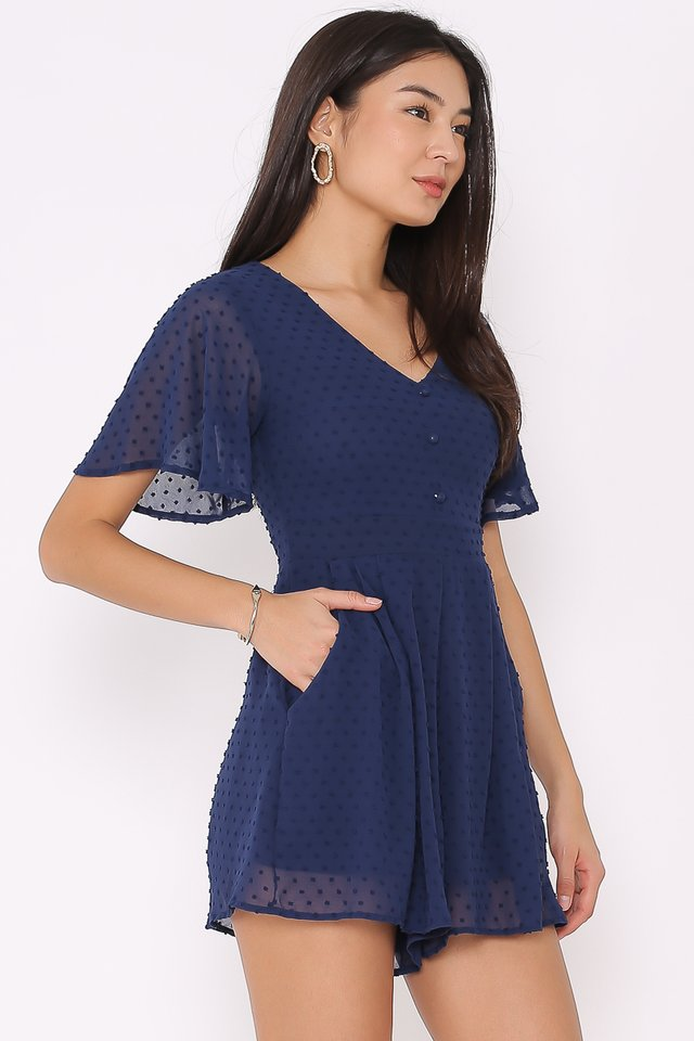 SELINA SWISS DOT ROMPER (NAVY)