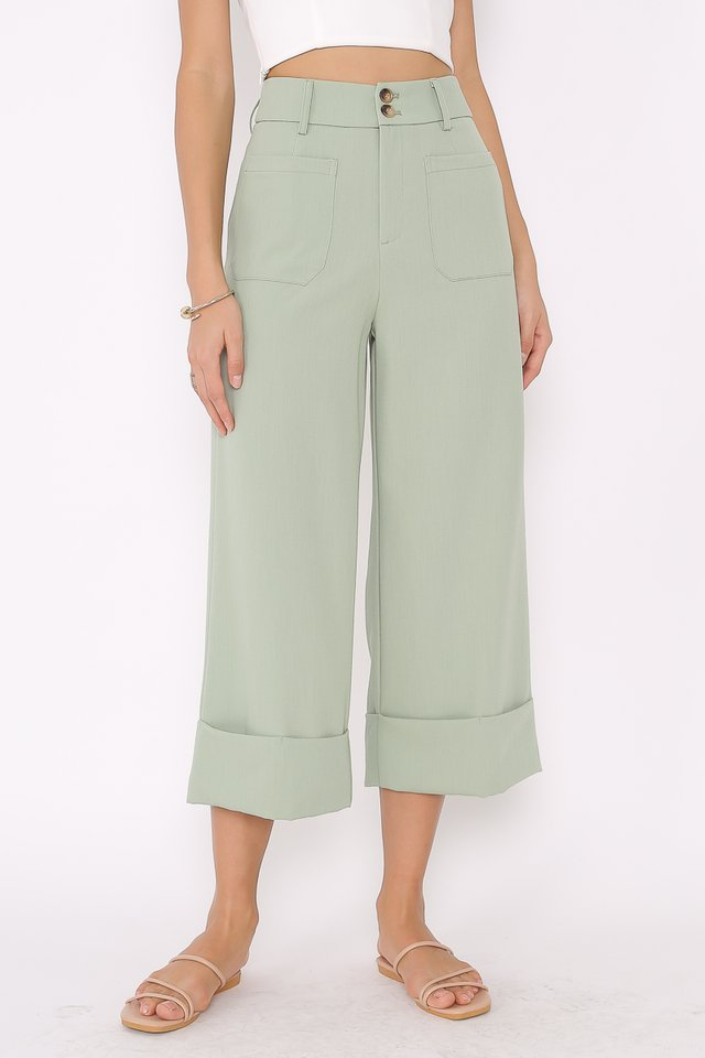 DELIA DOUBLE BUTTON PANTS (SEASALT GREEN)
