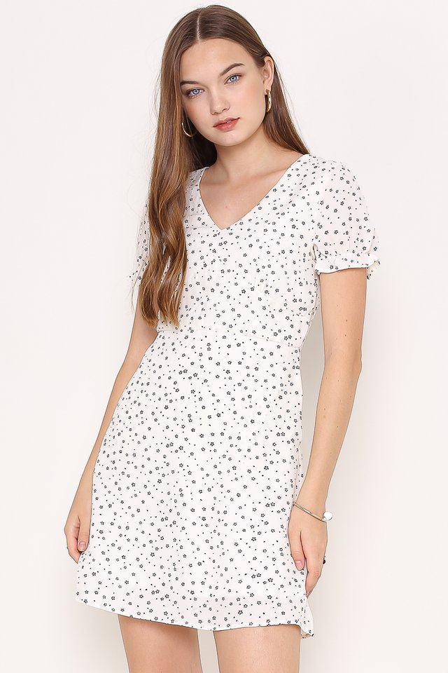 DIOARA DITSY FLORAL DRESS (WHITE)