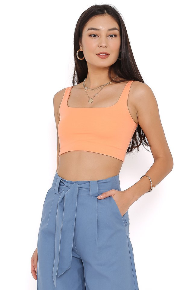 HASHY SQUARE NECK TOP (PASTEL ORANGE)