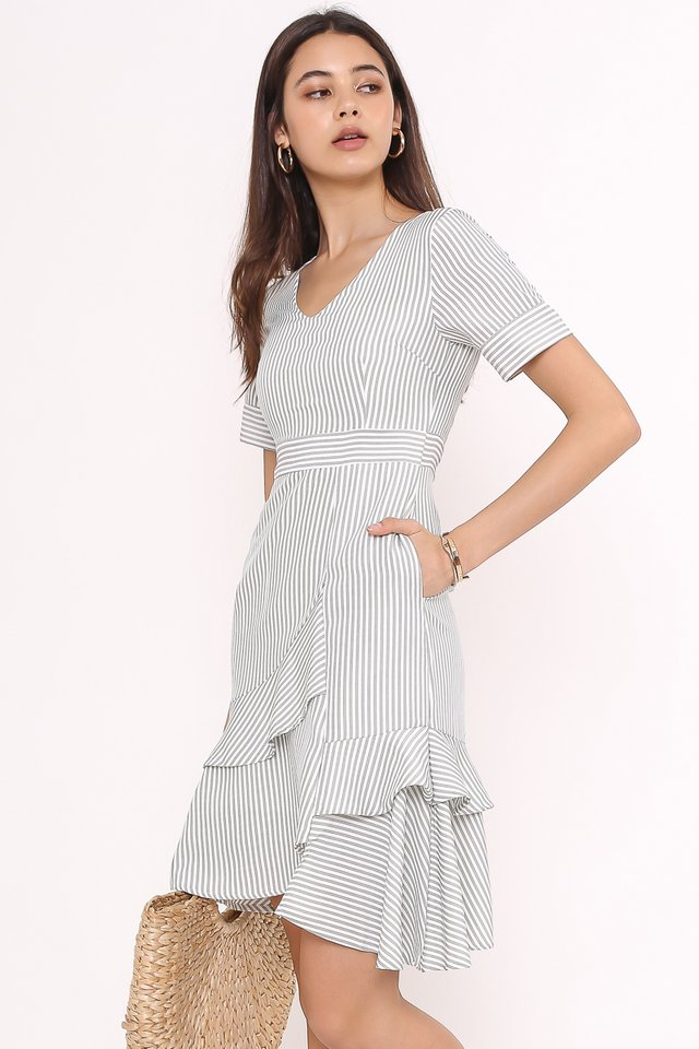 SARA STRIPE RUFFLE DRESS (LIGHT SAGE)