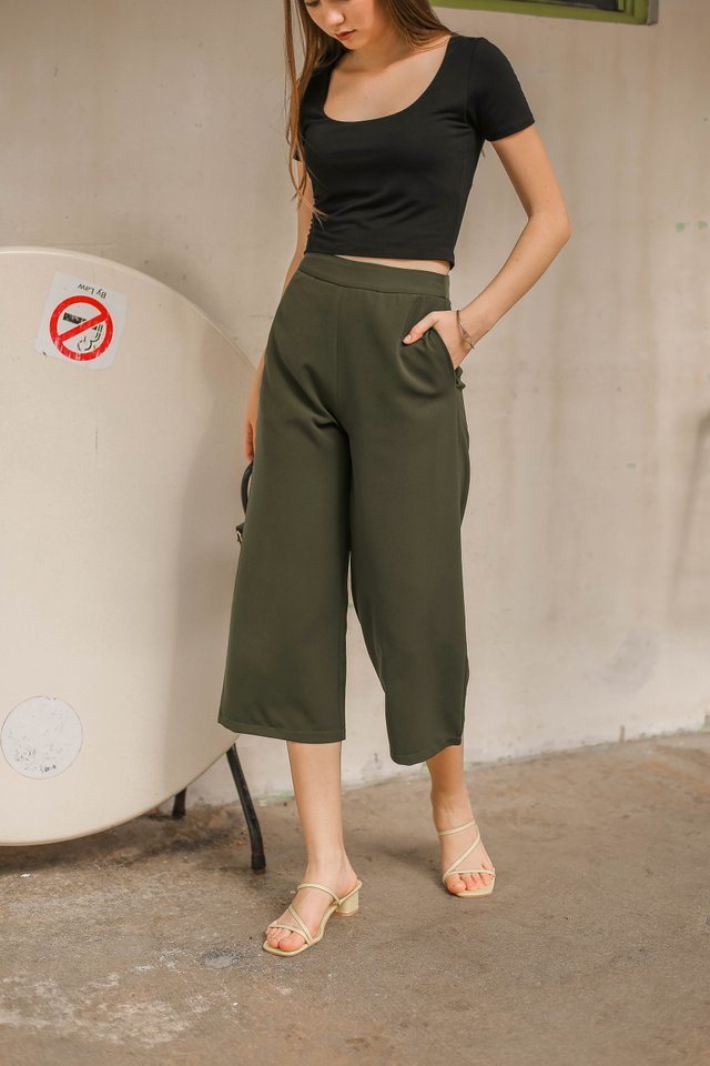 ZARA STRAIGHT CUT CULOTTES (HUNTER GREEN)