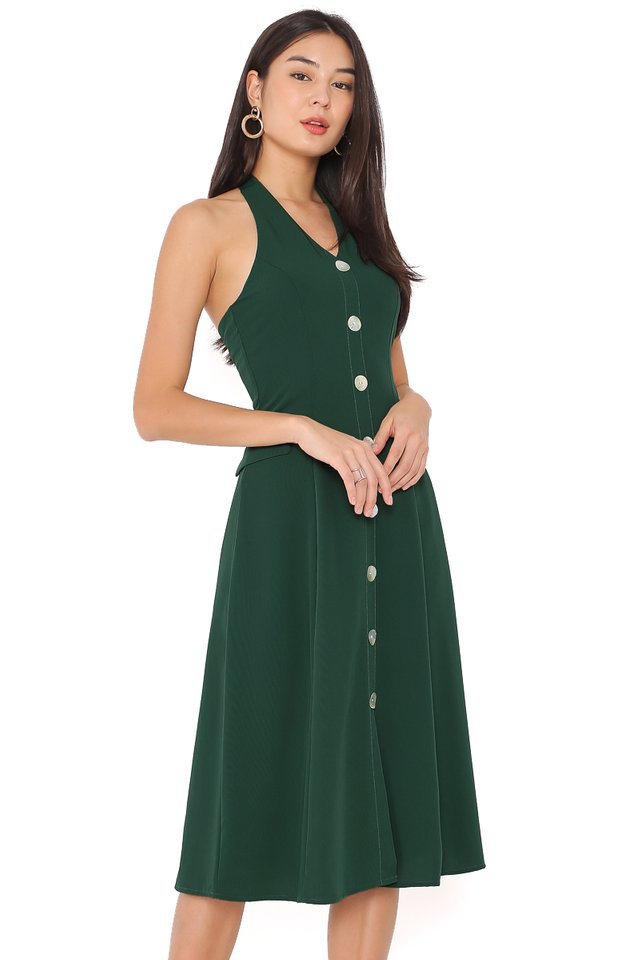 MARILYN HALTER DRESS (EMERALD GREEN)