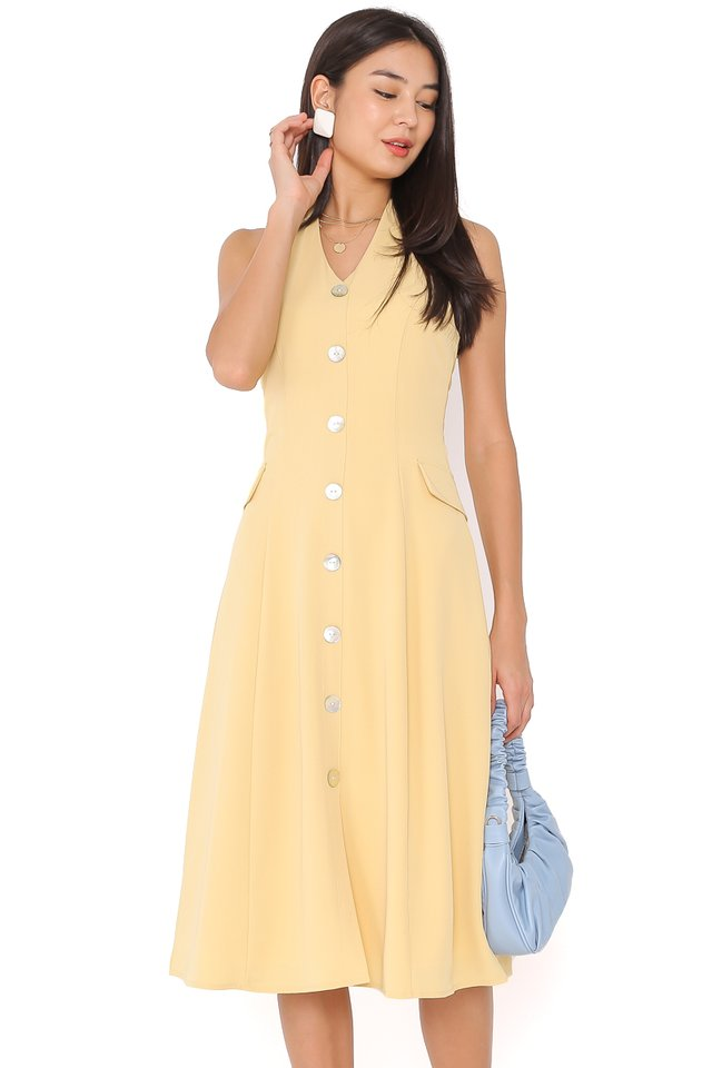 MARILYN HALTER DRESS (DAFFODIL YELLOW)