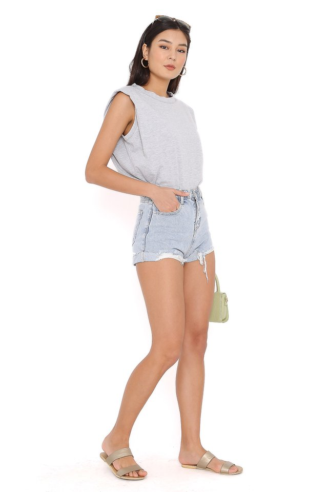 PAT SHOULDER PADDED TOP (GREY)