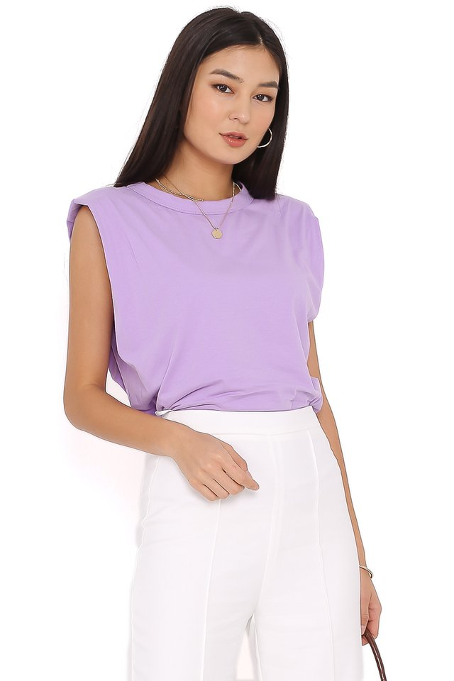 PAT SHOULDER PADDED TOP (PURPLE) (SIZE L)