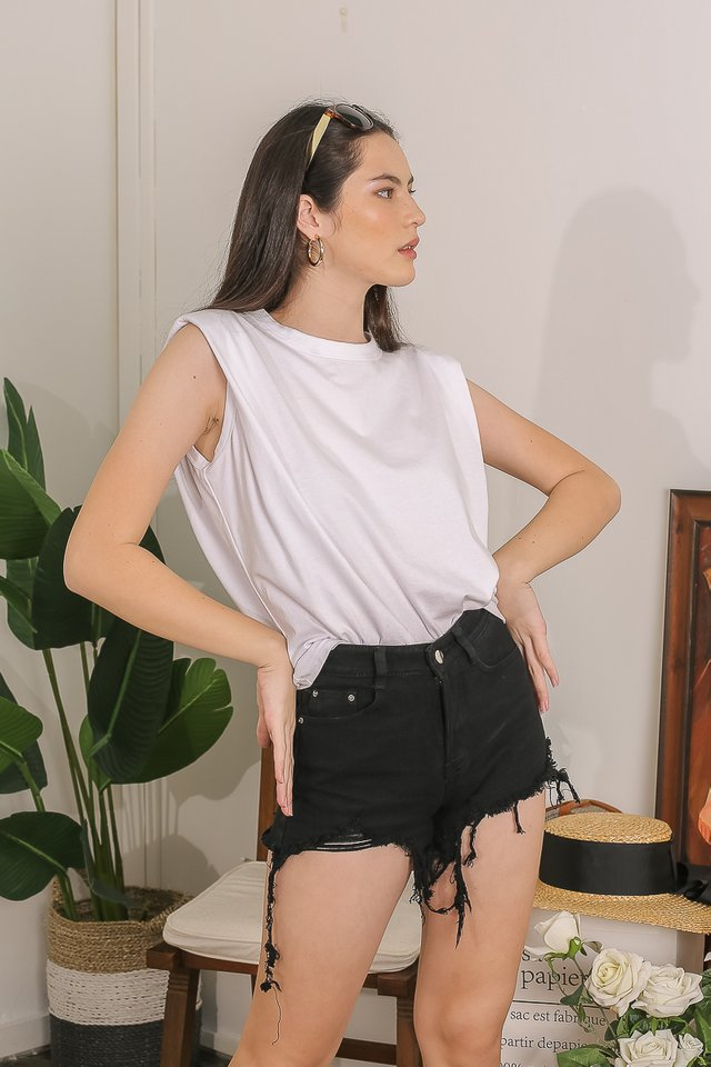 PAT SHOULDER PADDED TOP (WHITE)