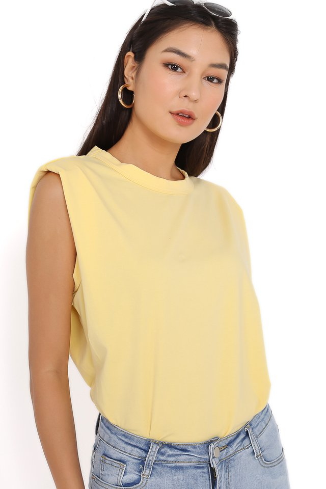 PAT SHOULDER PADDED TOP (PASTEL YELLOW)