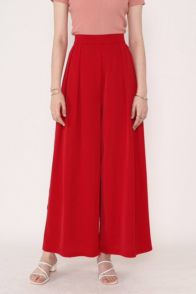 PERRY PLEATED FLARE PANTS (RED)(XS)