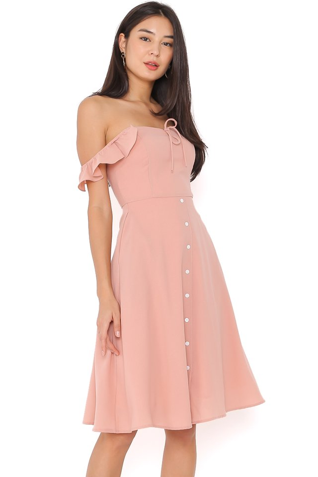 RACHEL RUFFLE DRESS (BLUSH PINK)