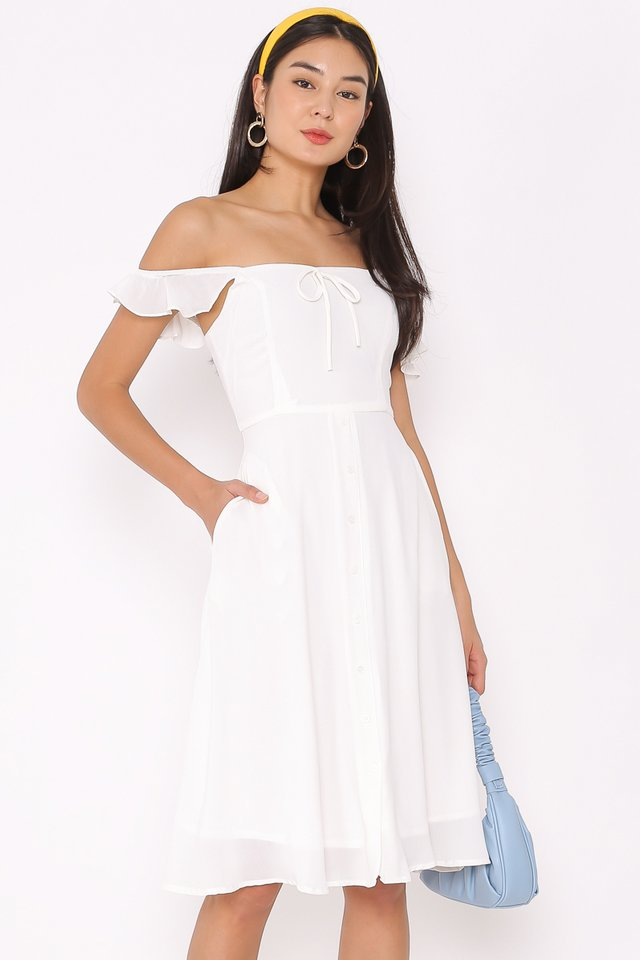 RACHEL RUFFLE DRESS (WHITE)