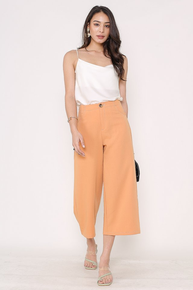 SIREE STITCHED-PIPING CROPPED PANTS (PASTEL ORANGE)