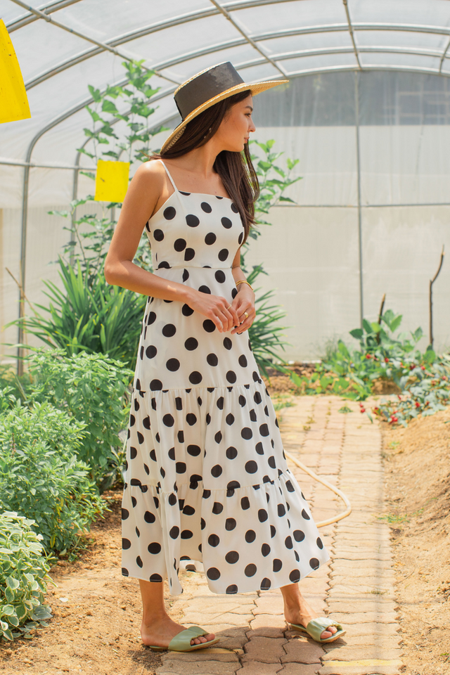 POPPY POLKA DOT MAXI DRESS (WHITE)