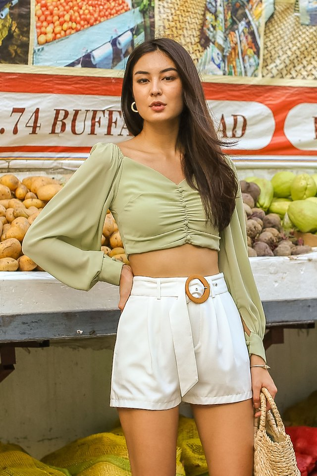 LARISSA BUBBLE SLEEVE TOP (PISTACHIO)(SIZE XS)