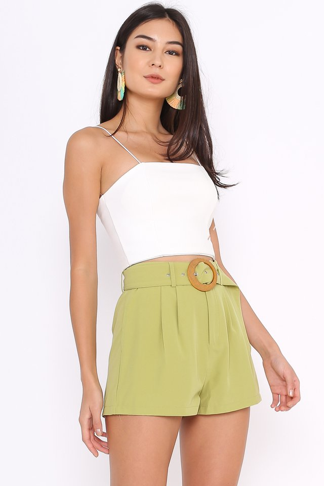 BREE BUCKLE SHORTS (AVOCADO GREEN)