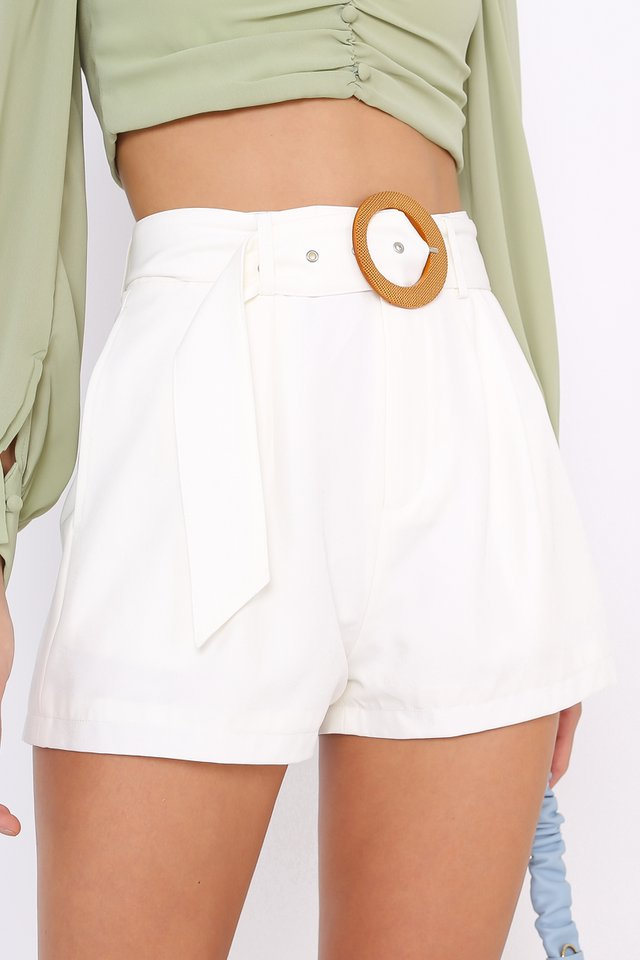 BREE BUCKLE SHORTS (WHITE)