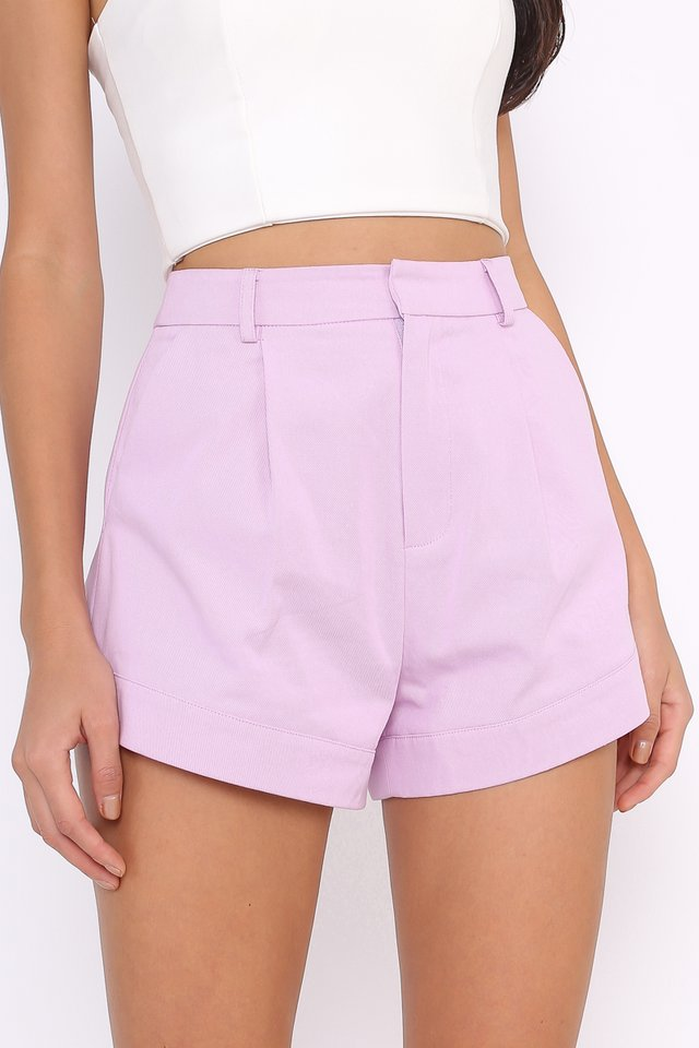 *BACKORDER* CHARLIE CURVED HEM SHORTS (LILAC)