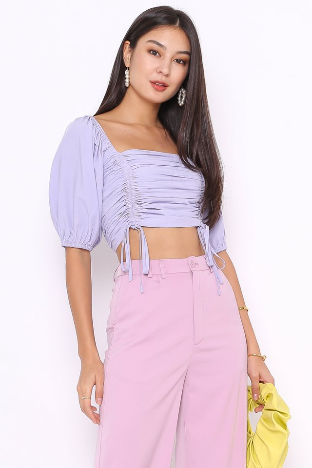 DENISE DRAWSTRING TOP (PERIWINKLE)(L)