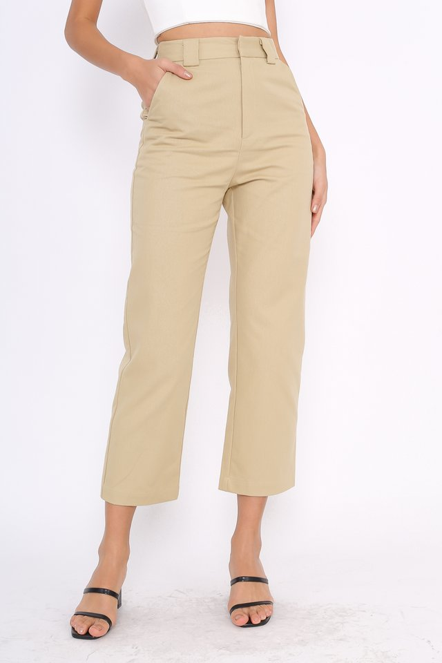 EMILY STRAIGHT LEG PANTS (KHAKI)(SIZE XL)