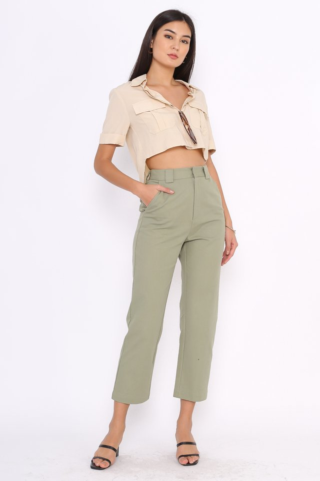 *BACKORDER* EMILY STRAIGHT LEG PANTS (SAGE GREEN)