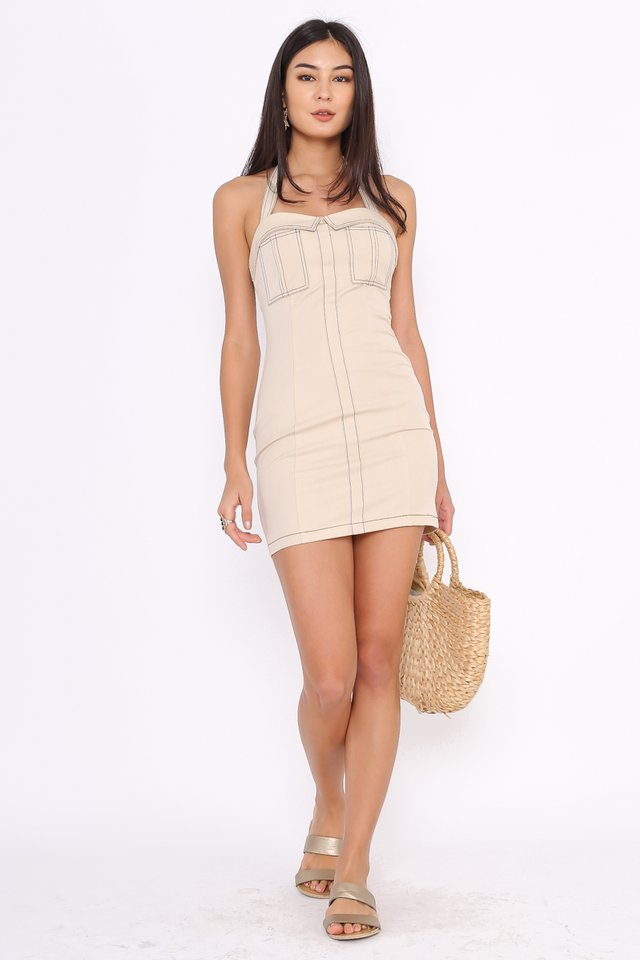 KIM HALTER DRESS (NUDE SAND)