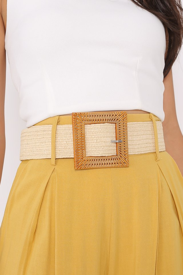 BRIA WEAVED RATTAN BRAIDED BELT