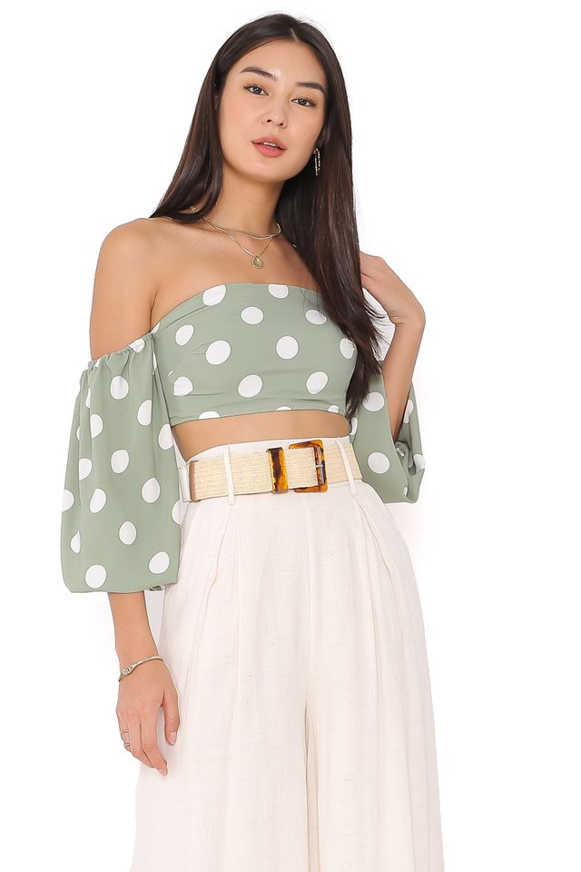PAULINE POLKA DOT TOP (SEASALT GREEN)