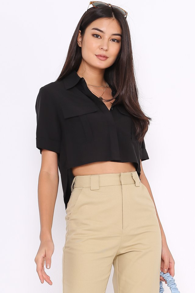 *BACKORDER* PEYTON DOUBLE POCKET SHIRT (BLACK)