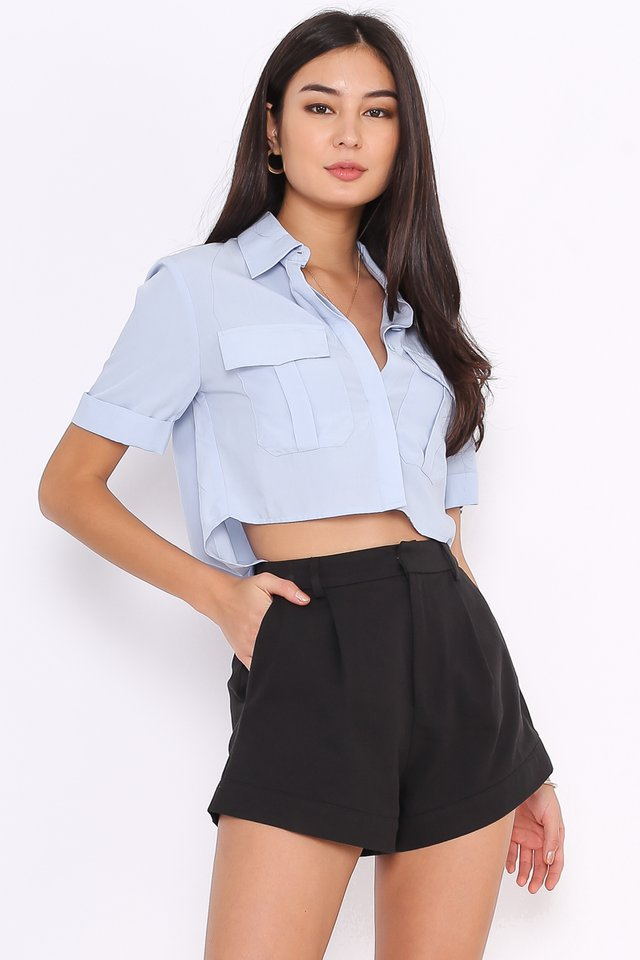 PEYTON DOUBLE POCKET SHIRT (BABY BLUE)