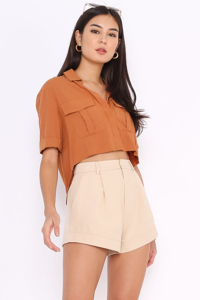 *BACKORDER* PEYTON DOUBLE POCKET SHIRT (HONEY BROWN)