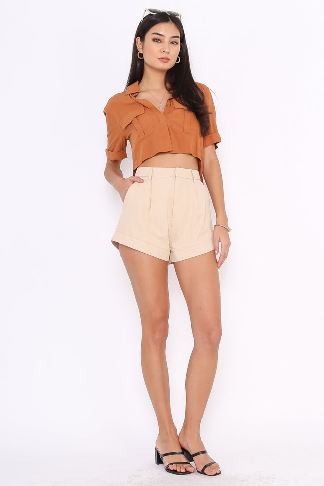 PEYTON DOUBLE POCKET SHIRT (HONEY BROWN)