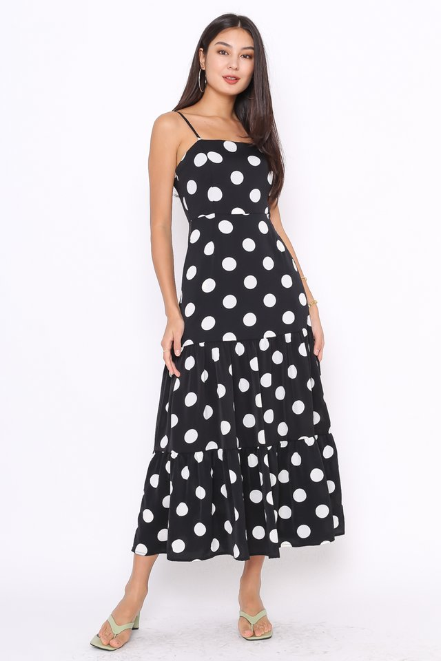 POPPY POLKA DOT MAXI DRESS (BLACK)