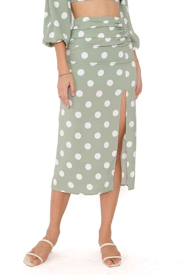 PAULINE POLKA DOT SKIRT (SEASALT GREEN)