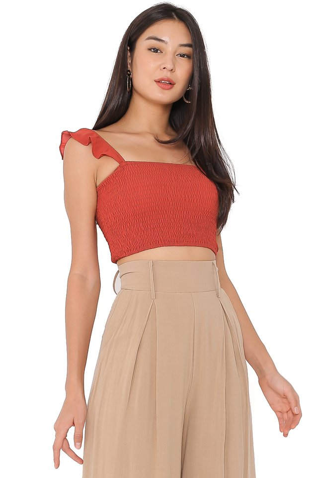 RITA RUCHED TOP (AMBER)
