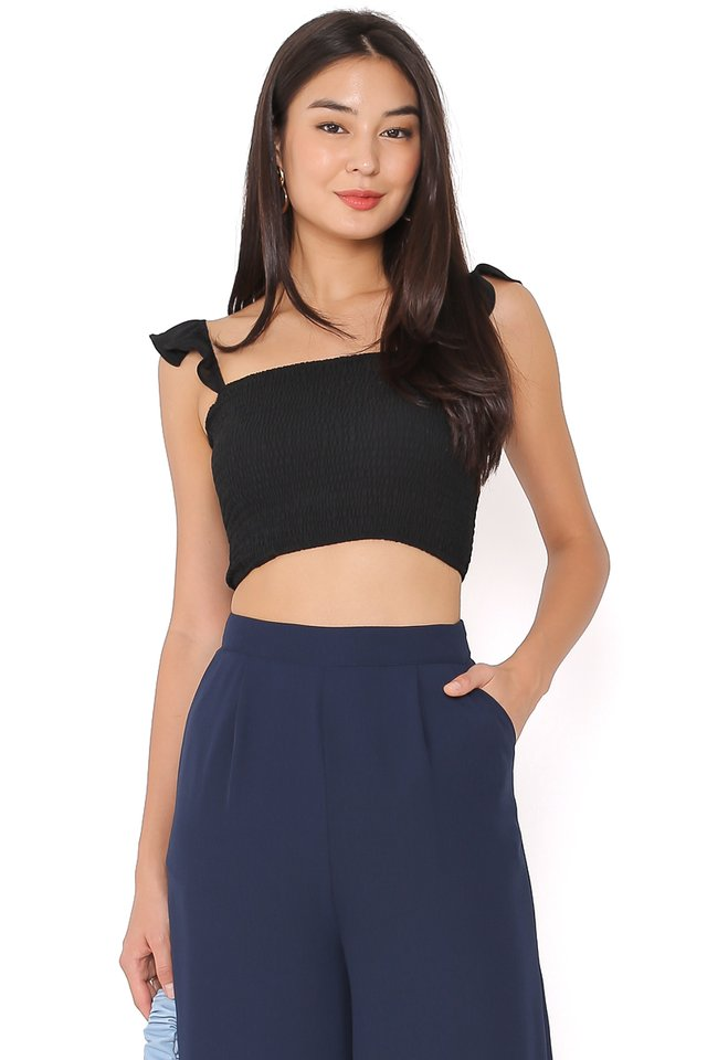RITA RUCHED TOP (BLACK)