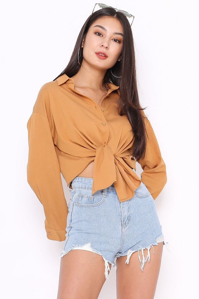 SHAWN SLOUCHY SHIRT (HONEY BROWN)