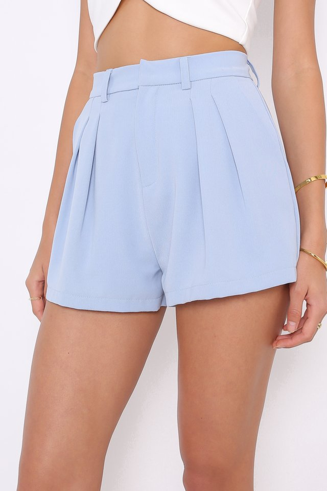 PERCY PANELLED FLARE SHORTS (DOVE BLUE)