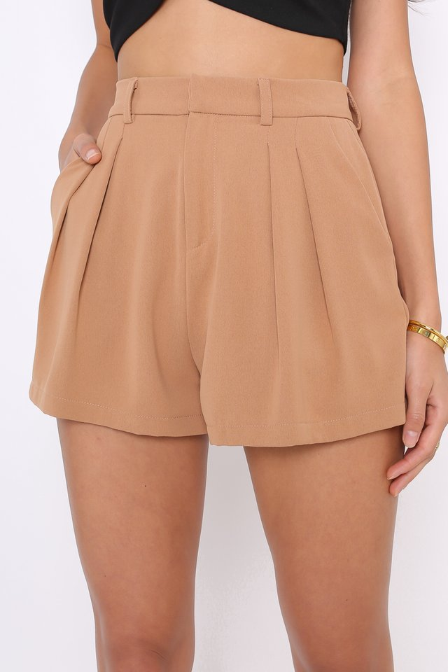 *BACKORDER* PERCY PANELLED FLARE SHORTS (LATTE)