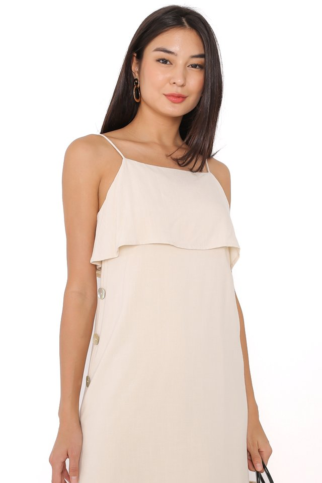 SKYLAR SEASHELL LINEN DRESS (ECRU)