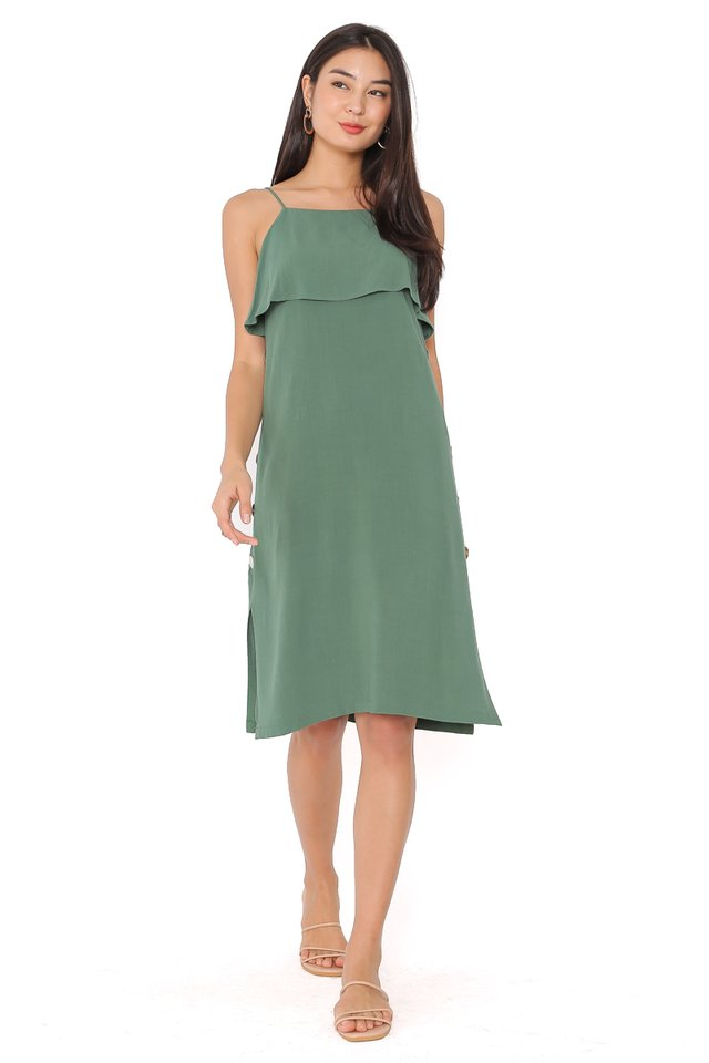 SKYLAR SEASHELL LINEN DRESS (DUSTY FOREST)