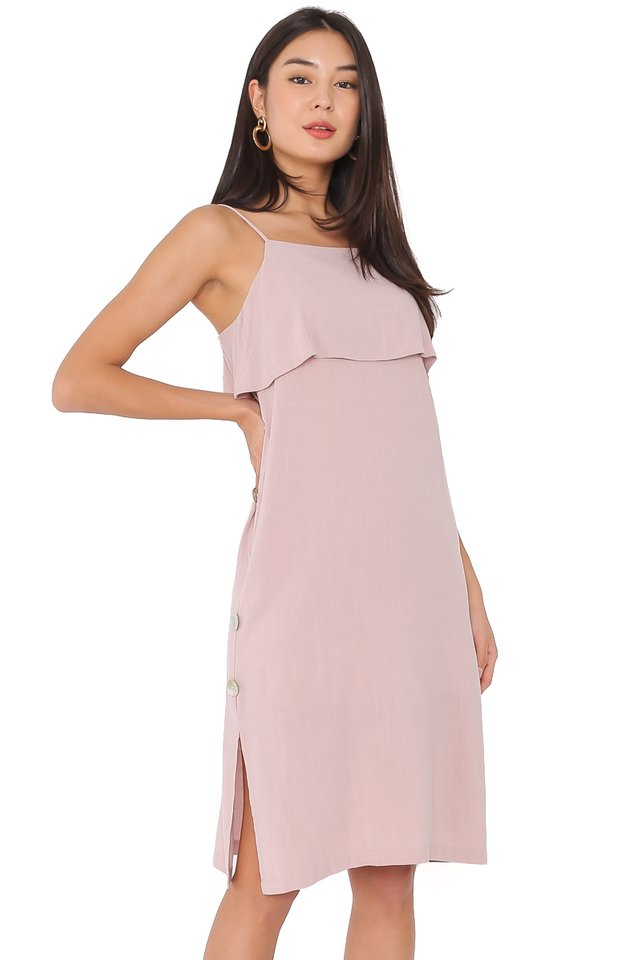 SKYLAR SEASHELL LINEN DRESS (DUSTY PINK)